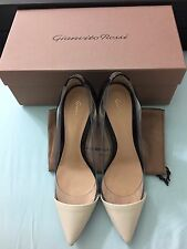 NEW $895 Gianvito Rossi Plexi Black White Patent Leather Pump Size 38
