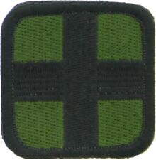 "10-Pack Olive Drab & Black First Aid Cross Hook & Loop Medic Patch 2"" x 2"""