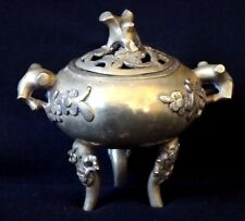 Brule parfum bronze doré chine Old censer encenser burning chinese mark  XIX