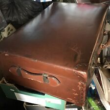 Large Vintage Leather Luggage Suitcase Brown Harry Potter Style