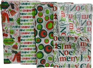 """Christmas Tissue Paper, 80 Count, Fun Holiday Colors and Prints, 20"""" x 20"""" Sheet"""
