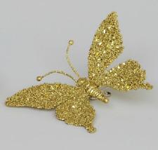 6 Pack 18 cm blanc Clip on Paillettes Papillons-Décorations de Noël