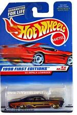 1998 Hot Wheels #635 First Edition #8 '65 Impala Lowrider (red car card)