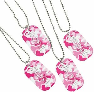 12 Camouflage Pink Breast Cancer Awareness Dog Tag Chain Necklaces CAMO  (1 dz)
