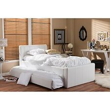Cosmo Modern And Contemporary White Faux Leather Twin Size Trundle Bed