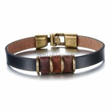 Vintage Punk Rock Brown Leather Cord Strap Bracelet Wristband for Men