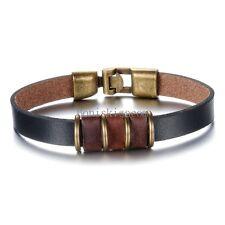 Vintage Punk Rock Brown Leather Cord Strap Bracelet Wristband for Men