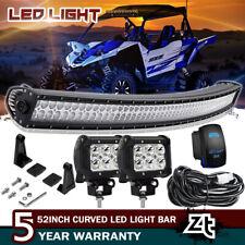 """50"""" Curved LED Light Bar Combo+4"""" Pods Cube For Yamaha Rhino Viking VI YXZ 1000"""