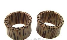"PAIR OF COCO WOOD 9/16"" INCH 14MM PLUGS TUNNELS PLUG COCONUT GAUGES ORGANIC"