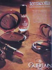 PUBLICITÉ 1992 PAPIER GUERLAIN TERRACOTTA LES COULEURS DU SOLEIL - ADVERTISING
