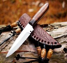 Mountain Man Western Style Fixed Blade Trade Patch Knife With Leather Sheath