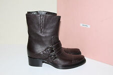 New Miu Miu Brown Leather Motorcycle Pointed Toe Ankle Boot Shoes sz 11 / 41