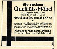 MOEBELHAUS Mommertz Erkelenz QUALITAERS- MOEBEL Historische Reklame von 1926
