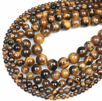 "Natural Gemstone Tiger's Eye Round Spacer Loose Beads 4mm 6mm 8mm 15.5"" Strand"