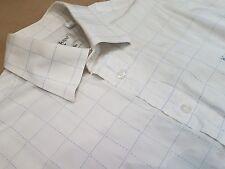"""Gents YSL blanc bleu clair Chemise à carreaux. 100% coton. Taille M (44""""). RRP £ 75."""