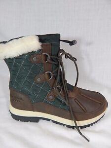 SNOW ALL WEATHER BOOTS Waterproof BROWN LEATHER BEARPAW Sheepskin~Sz 7