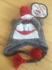 New The Original Brown Sock Monkey Hat, Child Fleece Lined, Twins 2 Available