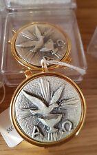 Brass pyx Come Holy Spirit dove Eucharist Communion wafer Catholic 6cm