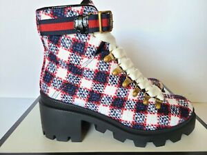New Auth Gucci Tweed Combat Boots Sylvie Web Blue Red White  Eur 38/ US 8