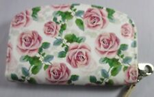 Wallet Wristlet NWT Coin Purse Pink Roses Small Pouch Zip Around 119 T151