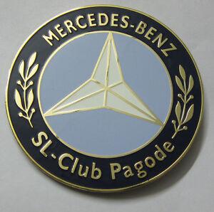 CAR BADGE - MERVEDES BENZ-SL-CLUB PAGODE CAR GRILL BADGE EMBLEM LOGOS METAL ENAM