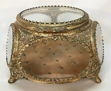 Vintage 5 Beveled Glass Sided Gilt Gold Footed Casket Jewelry Trinket Box