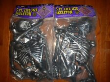 lot of 2 Skeletons 5 ft. Life-Size Indoor Outdoor Prop NEW sealed Halloween
