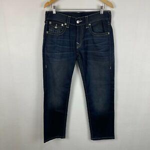 True Religion Mens Jeans Size W31 L30 Dark Blue Indigo Wash Slim W Flaps