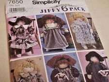 "Simplicity Pattern 7650 Jiffy 6 Pack 22"" soft doll and doll clothes wardrobe"