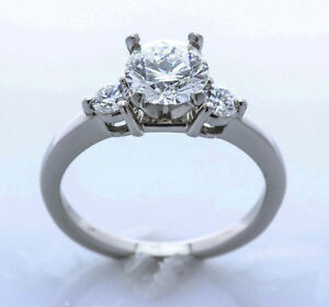 Platinum and Diamond Engagement Ring SETTING ONLY (Size 5.75) Sizable