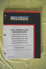 MacDon Self Propelled Windrower parts catalog Westward Prairie Star Premier 2002