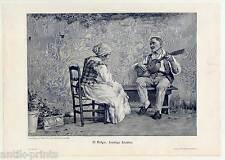 Lustige Lieder - Holzstich nach V. Volpe um 1895 Musik-Gitarre