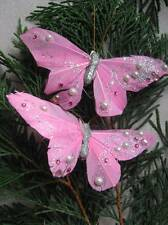 Feather Butterflies - Pink with Pink Gems - SUBSTANDARD - SALE - Set of 2