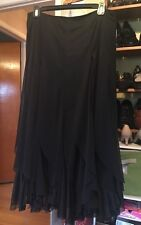 MILLA BELL KM COLLECTIONS LONG SOLID BLACK RUFFLE SKIRT Sz.6