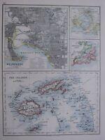1918 Mapa Melbourne Puerto Philip Fiji Islas Otago Puerto