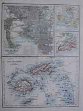 1918 MAP MELBOURNE PORT PHILIP FIJI ISLANDS OTAGO HARBOUR