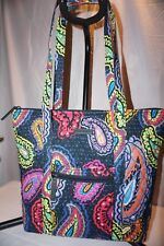 Vera Bradley Twilight Paisley Villager Shoulder Bag Tote Purse Quilted