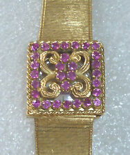 SWISS WRIST WATCH  18 CT GOLD - 30 RUBY'S  LADIES BRACELET  VERY BEAUTIFUL