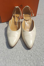 * hermes * vintage cream cour chaussures (38.5)