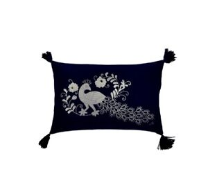Blue Felt Peacock jan constantine cushion