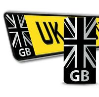 2 x PVC Stickers Number License Plate GB UK Flag Union Jack Numberplate Decals