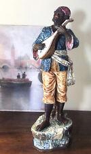 Nubien musicien à la mandoline en faïence XIXè 51 cm - céramique ancienne