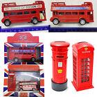 London Bus Model Die Cast Metal Vehicle Telephone Post Box Toy Red Souvenir Bank