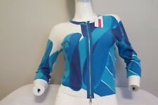 Tracy Reese $240! NEW Blue serif stripe Woman's Zip Cropped Cardigan size M-(L)