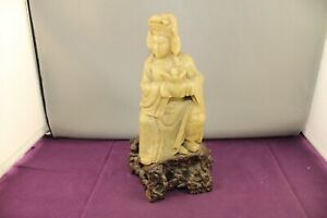 Antique Hand Carved Soapstone Chinese Woman with Lotus Flower Figurine