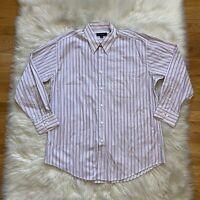 Jhane Barnes Mens Button Down Dress Shirt Stripes Size 16.5/32-33