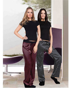 Women Top Quality Black and Red Satin Night Trousers  European Products