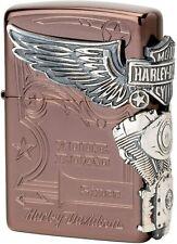 Zippo Harley Davidson HDP-49 Brown Silver Metal Oil Lighter Japan Limited Model