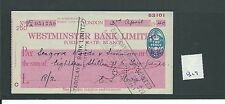 wbc. - CHEQUE - CH1329- USED -1940- WESTMINSTER BANK, FOREST GATE, LONDON E7