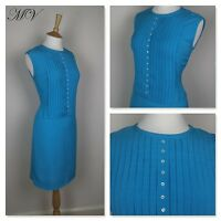 Vintage 1960s Blue Silk Wiggle Dress 60s 50s Pleated Cocktail Sheath 12 14 M